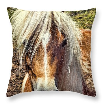 Mountain Pony Throw Pillow by Laurinda Bowling