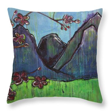 Mountain Pose Throw Pillow by Laurie Maves ART