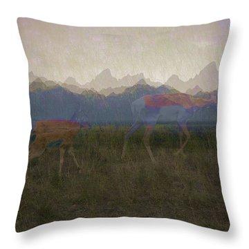 Mountain Pronghorns Throw Pillow