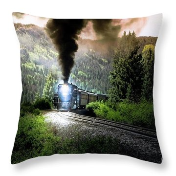 Throw Pillow featuring the photograph Mountain Railway - Morning Whistle by Robert Frederick