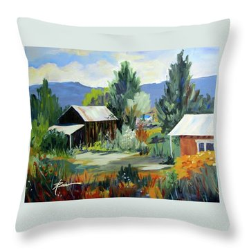 Mountain Settlement In New Mexico  Throw Pillow