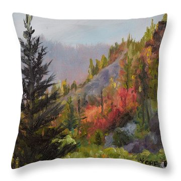 Mountain Slope Fall Throw Pillow