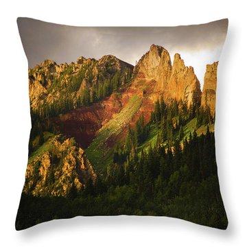 Mountain Storm Light Throw Pillow by John De Bord