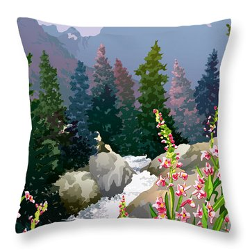 Mountain Stream Throw Pillow by Anne Gifford