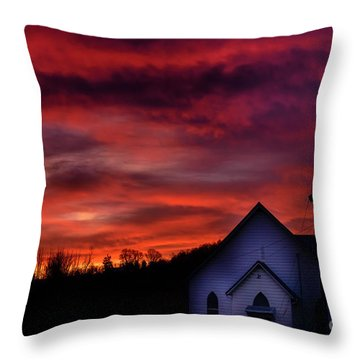 Throw Pillow featuring the photograph Mountain Sunrise And Church by Thomas R Fletcher