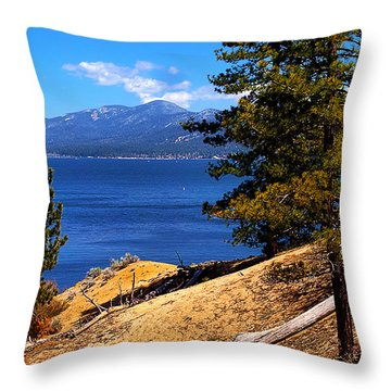 Mountain Thru The Pines Throw Pillow