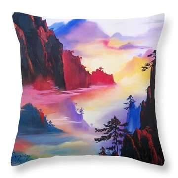 Throw Pillow featuring the painting Mountain Top Sunrise by Sharon Duguay