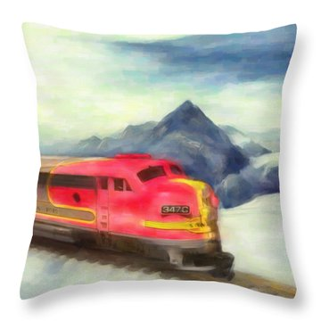 Mountain Train Throw Pillow by Michael Cleere