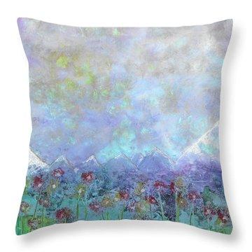 Mountain Valley Dew Throw Pillow
