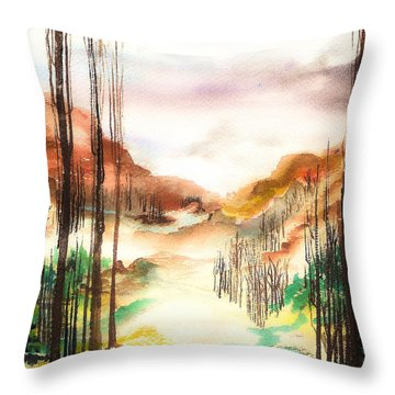 Mountain Valley Throw Pillow by Ellen Canfield