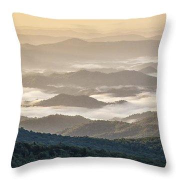 Mountain Valley Fog - Blue Ridge Parkway Throw Pillow