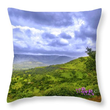 Throw Pillow featuring the photograph Mountain View by Charuhas Images
