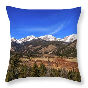 Mountain View From Fall River Road In Rocky Mountain National Pa Throw Pillow by Peter Ciro