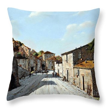 Throw Pillow featuring the painting Mountain Village Main Street by Rosario Piazza