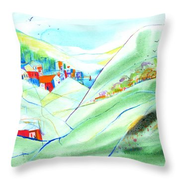 Throw Pillow featuring the painting Mountain Village by Mary Armstrong