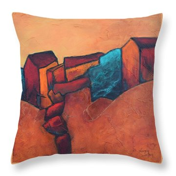Mountain Village Throw Pillow