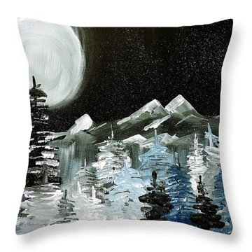Mountain Winter Night Throw Pillow