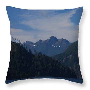 Mountain With Summer Snow Throw Pillow