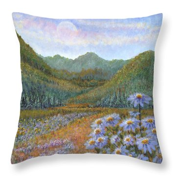 Mountains And Asters Throw Pillow