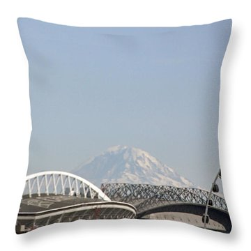 Mountains And City Throw Pillow