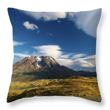 Mountains And Clouds In Patagonia Throw Pillow