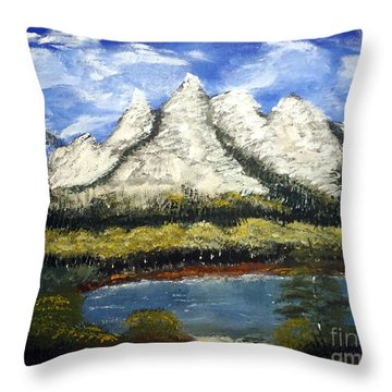 Mountains And Evergreens Throw Pillow