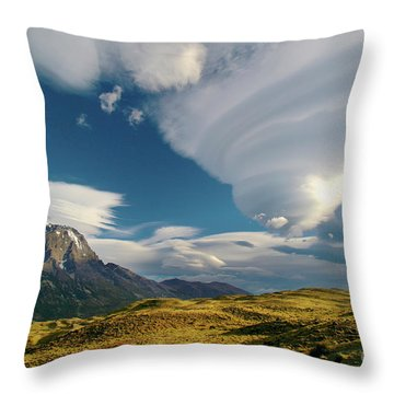 Mountains And Lenticular Cloud In Patagonia Throw Pillow