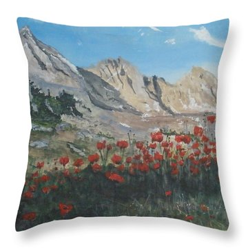 Throw Pillow featuring the painting Mountains And Poppies by Betty-Anne McDonald