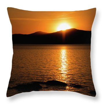 Throw Pillow featuring the photograph Mountains And River At Sunset by Cristina Stefan