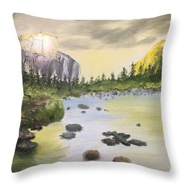 Mountains And Stream Throw Pillow