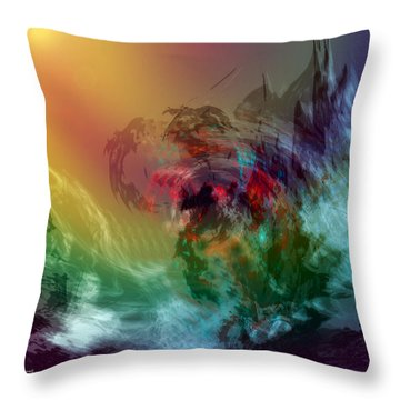 Mountains Crumble To The Sea Throw Pillow by Linda Sannuti