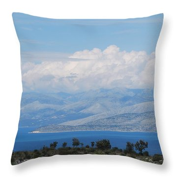 Mountains Far Away  3 Throw Pillow by George Katechis