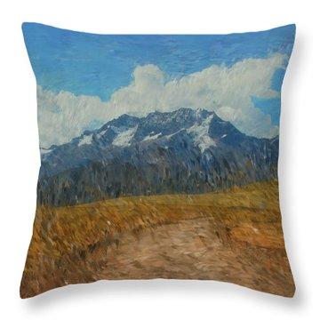 Mountains In Puru Throw Pillow by David Lane