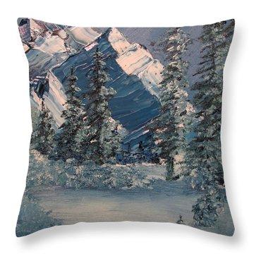 Mountains In Winter Throw Pillow