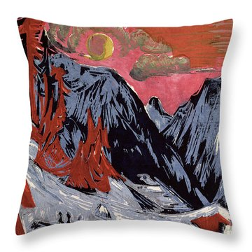 Mountains In Winter Throw Pillow by Ernst Ludwig Kirchner