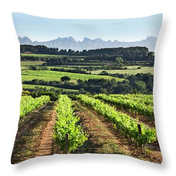 Throw Pillow featuring the mixed media Mountains Of Montserrat Catalunya by Gina Dsgn