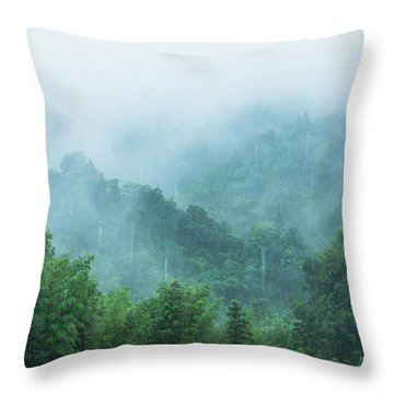 Mountains Scenery In The Mist Throw Pillow
