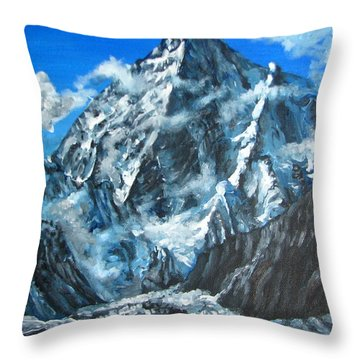 Mountains View Landscape Acrylic Painting Throw Pillow by Natalja Picugina