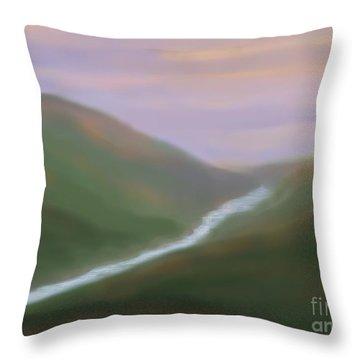 Mountainside Serenity Throw Pillow by Roxy Riou