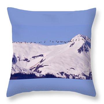 Mountaintop Geese II Throw Pillow