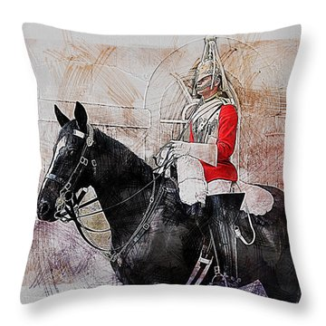 Mounted Household Cavalry Soldier On Guard Duty In Whitehall Lon Throw Pillow