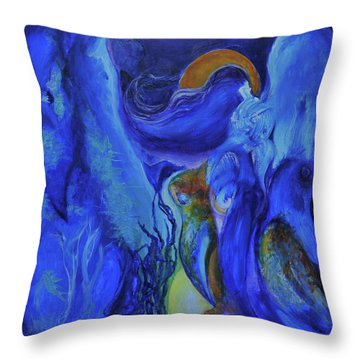 Mourning Birds Of The Final Flower Throw Pillow by Christophe Ennis
