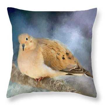Throw Pillow featuring the photograph Mourning Dove Of Winter by Darren Fisher