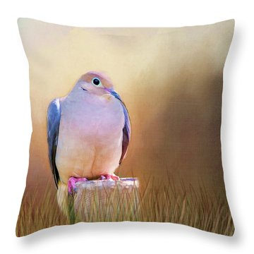 Mourning Dove Painted Portrait Throw Pillow