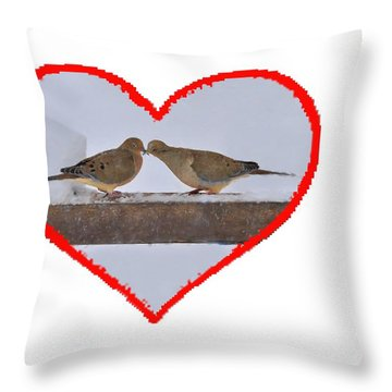 Mourning Doves Kissing Throw Pillow