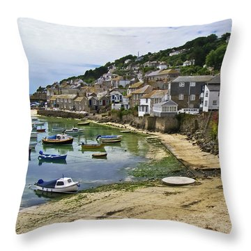 Mousehole Harbour, Cornwall Throw Pillow