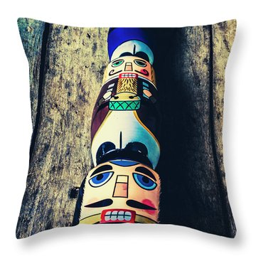 Moustache Men Throw Pillow