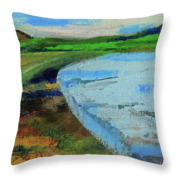 Throw Pillow featuring the painting Mouth Of The Creek by Walter Fahmy
