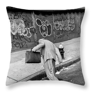 Mouthwash Throw Pillow by Dave Beckerman