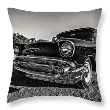Movie Night In The '57 Throw Pillow by CJ Schmit